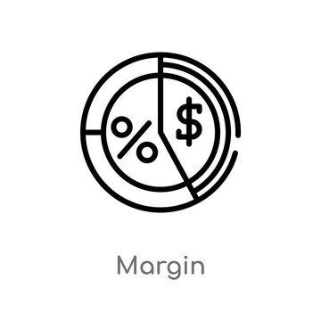 outline margin vector icon. isolated black simple line element illustration from marketing concept. editable vector stroke margin icon on white background
