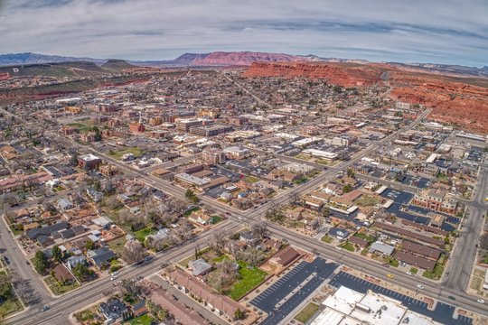 Aerial View of the Town of St. George in Southwest Utah