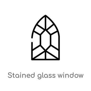 outline stained glass window vector icon. isolated black simple line element illustration from miscellaneous concept. editable vector stroke stained glass window icon on white background