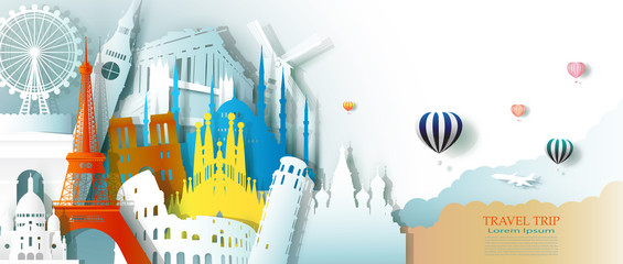 Wall Mural - Travel business landmarks tourism Europe architecture by balloon.