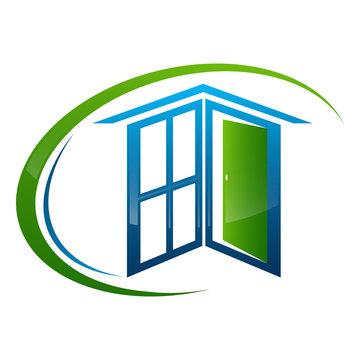 Home window door frame concept design. Symbol graphic template element vector