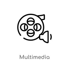 outline multimedia vector icon. isolated black simple line element illustration from  concept. editable vector stroke multimedia icon on white background