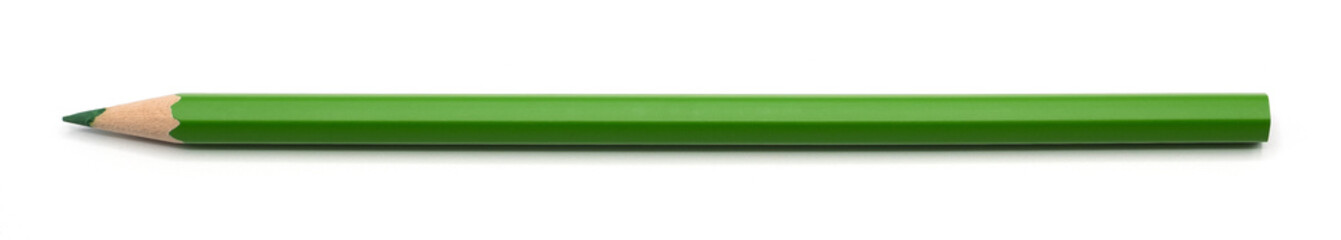Fototapeta single green pencil isolated on white background with clipping path. obraz