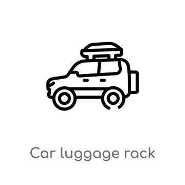 outline car luggage rack vector icon. isolated black simple line element illustration from car parts concept. editable vector stroke car luggage rack icon on white background