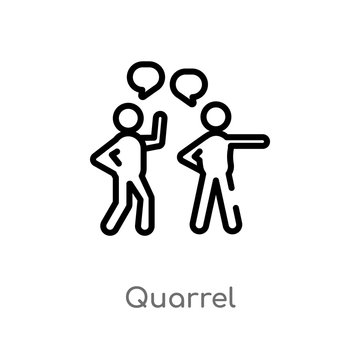 outline quarrel vector icon. isolated black simple line element illustration from communication concept. editable vector stroke quarrel icon on white background
