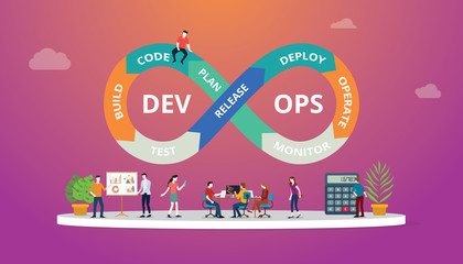 Programmers at work concept using devops software development practices - vector