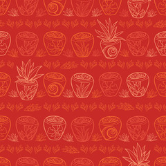 Vector red potted plants tropical beach resort repeat pattern. Suitable for gift wrap, textile and wallpaper.