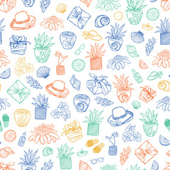 Vector white tropical beach resort spa repeat pattern. Suitable for gift wrap, textile and wallpaper.