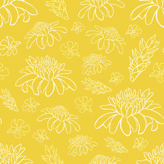 Vector yellow tropical beach resort repeat flowers pattern. Suitable for gift wrap, textile and wallpaper.
