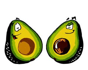Avocado cartoon vector