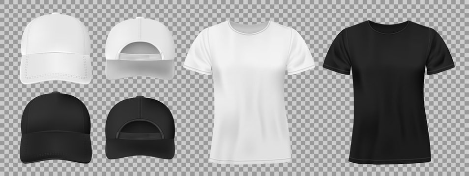 Set of sports wear template. Black and white baseball cap and t-shirt mockup, front and back view. vector illustration