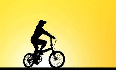 Cycling Silhouette on sunrise