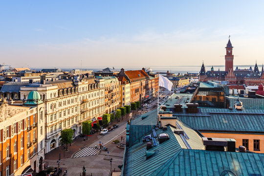 Center street of Helsingborg city panorama, with town hall tower, Sweden