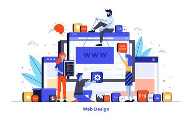 Wall Mural - Flat color Modern Illustration design - Web Design