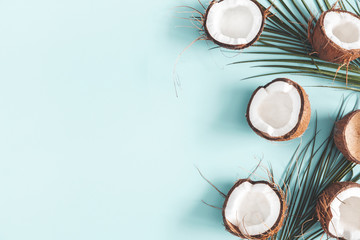 Foto auf AluDibond Palms Summer composition. Coconut, palm leaf on pastel blue background. Summer concept. Flat lay, top view, copy space