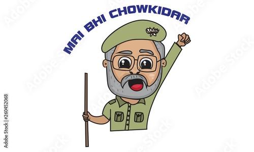Vector cartoon illustration of cartoon Narendra Modi