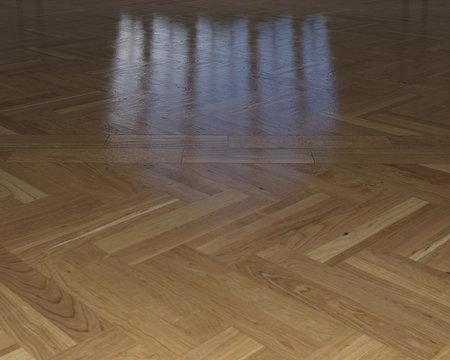 pavimento di parquet con riflesso in legno lucido