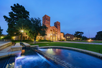 Night exterior view of the Royce Hall