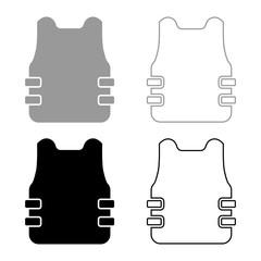 Bullet-proof vest flak jacket icon set black color vector illustration flat style image