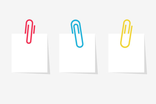 Colored paperclip with blank white notepaper. White sheet for your message or adding more text. Vector illustration flat design. Isolated on white background. Template for memo. Notebook space.
