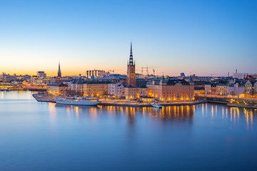 Stores photo Stockholm Night view of Stockholm city skyline old town in Sweden