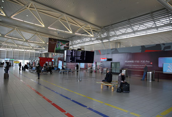 Picture shows the arrivals area at Sofia Airport