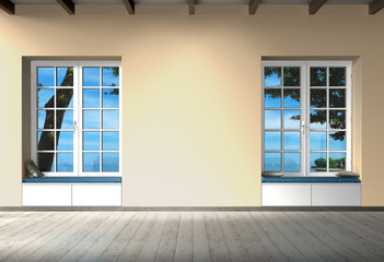 empty room with window, bench, view to the sea and copy space for images, photos or art