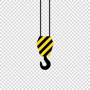 crane hook on empty background black yeloow