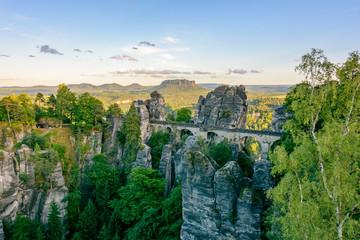 Germany, Saxony - Bastei Bridge in National Park Saxon Switzerland Fototapete