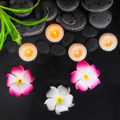top view of spa concept with plumeria flowers, green leaves and candles on black zen stones in water
