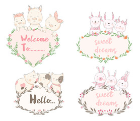 Cute baby animal with flower frame cartoon hand drawn style,for printing,card, t shirt,banner,product.vector illustration