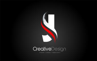 White and Red J Letter Design Brush Paint Stroke on Black Background