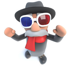 Funny cartoon 3d old man character wearing 3d glasses