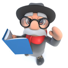 Funny cartoon 3d old man character readig a book
