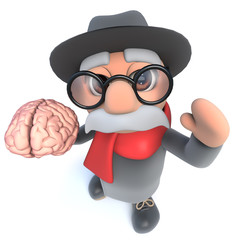 Funny cartoon 3d old man character holding a human brain