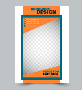 Flyer template design. Abstract brochure or anual report layout. Vector illustration. Orange color.