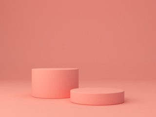 Pink coral shapes on a coral abstract background. Minimal boxes and geometric podium. Scene with geometrical forms. Empty showcase for cosmetic product presentation. Fashion magazine. 3d render.