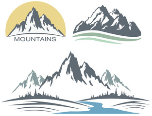 Abstract high mountain icon with your design