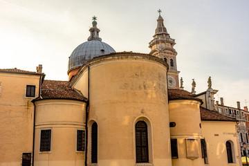 Italy, Venice, side facade of an ancient church.