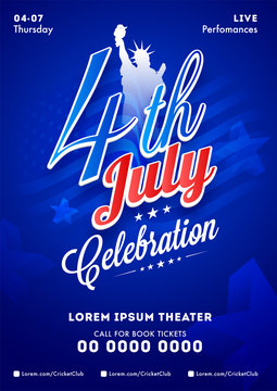 4th Of July Celebration template or invitation card design with time, date and venue detail.
