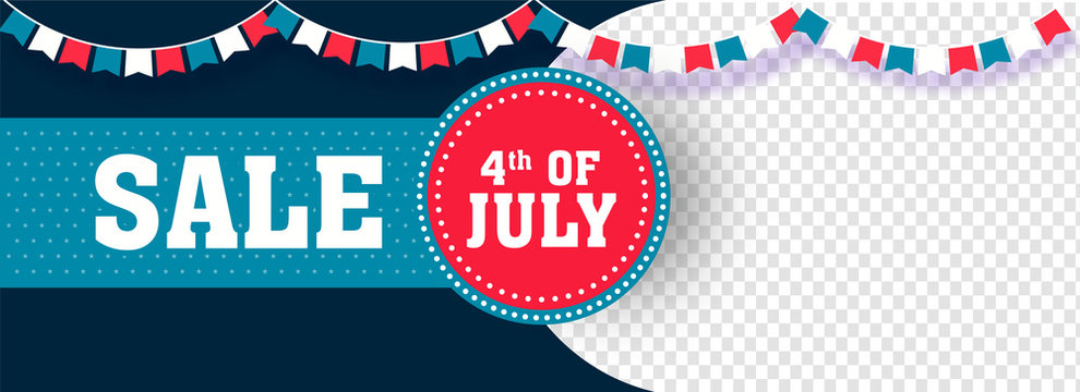 4th Of July, Independence Day Sale header or banner design with space for your product image.