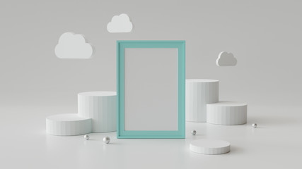 Blank picture frame with cylinder podium. Abstract geometric background for display or mockup. 3D rendering.