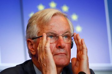 Barnier briefs the media following a European Affairs Ministers meeting in Luxembourg