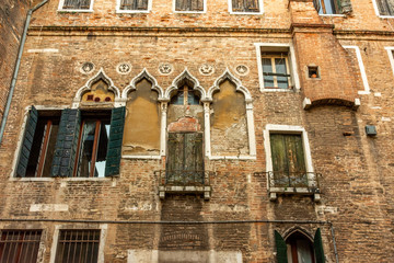 Italy, Venice, view of palace in typical Venetian style.