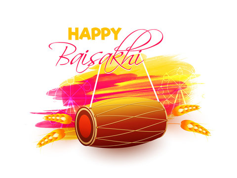 Baisakhi poster or banner of Happy Baisakhi on splash of floral background with dhol and wheat.