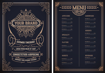 Vintage restaurant menu template. Vector layered