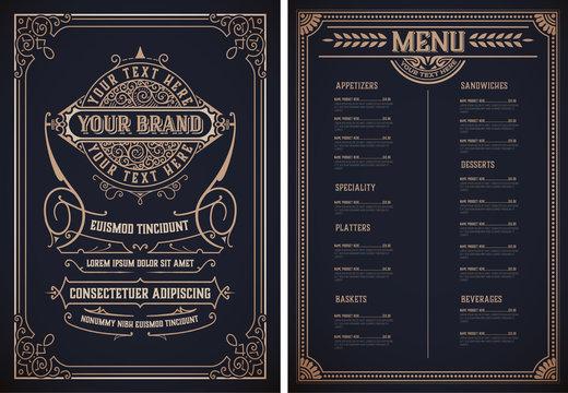 Vintage restaurant menu template. Vector layered