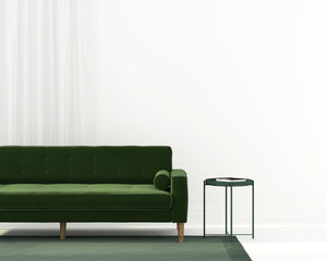 living room with a green sofa