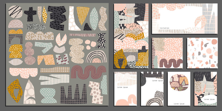 Vector Collage template creative  kit with hand draw texture