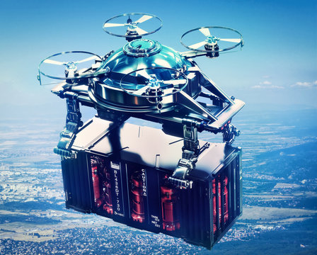 Sci-fi drone cargo with container freight flying above future city.
